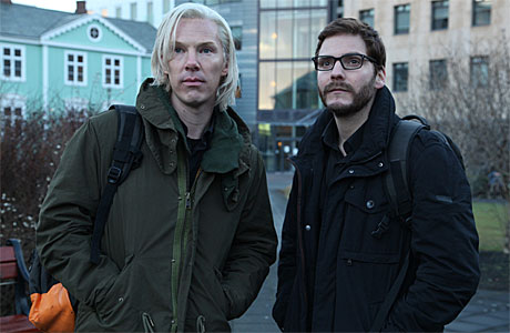 Benedict Cumberbatch as Julian Assange (and Daniel Bruhl) in 'The Fifth Estate'