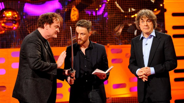 Quentin Tarantino and James McAvoy play with danger while a scared Alan Davies looks on.