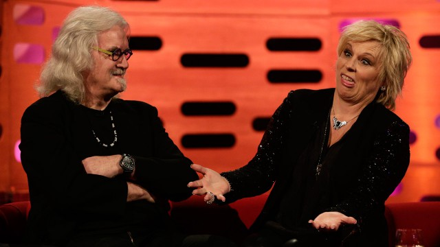 Comedic legends Jennifer Saunders and Billy Connolly play off each other.
