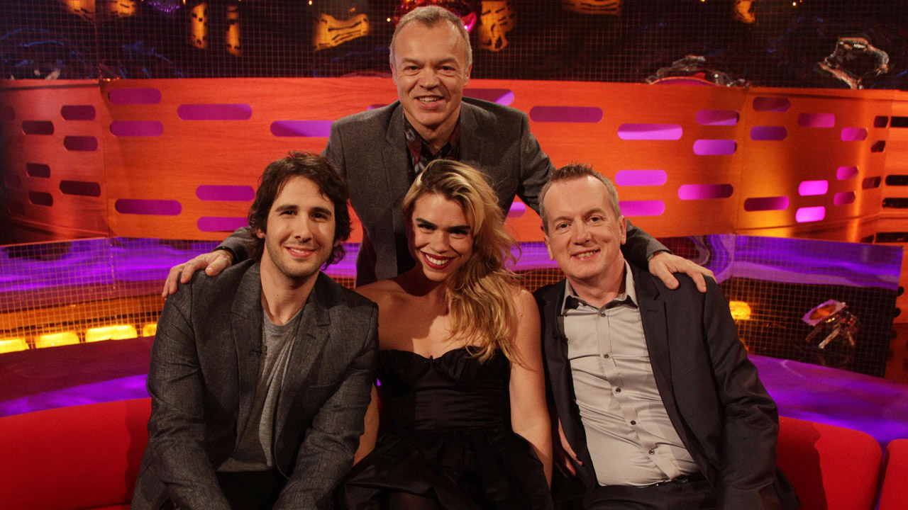Josh Groban, Billie Piper, and Frank Skinner pose with Graham.