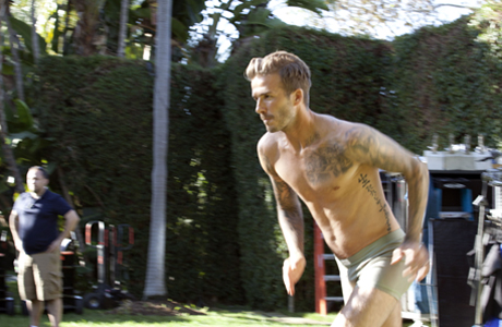 Film director Guy Ritchie directs David Beckham in a new film fo