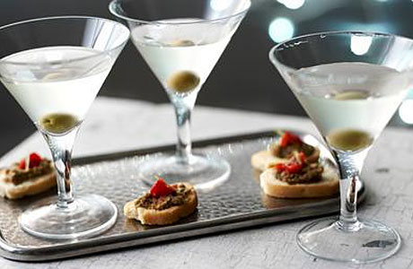 Three vodka martinis and some nibbles