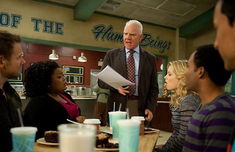 Malcolm McDowell, standing, on 'Community' (NBC)