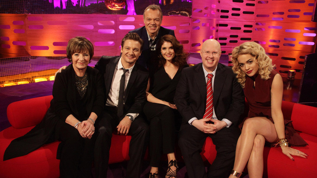 Graham is joined by Jeremy Renner, Gemma Arterton, Matt Lucas, Delia Smith, and Rita Ora.