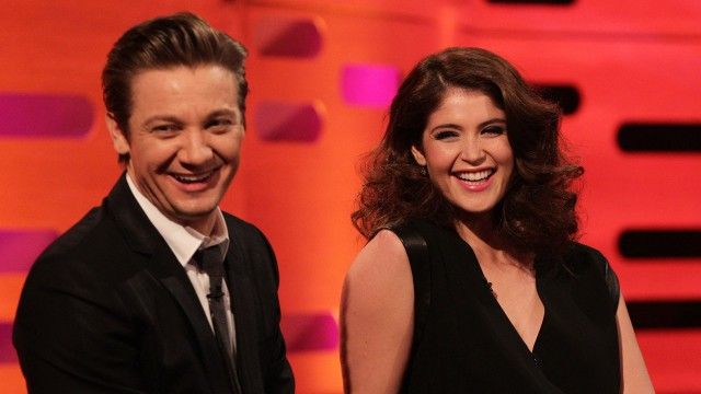 Former co-stars Jeremy Renner and Gemma Arterton reunite on Graham's couch.