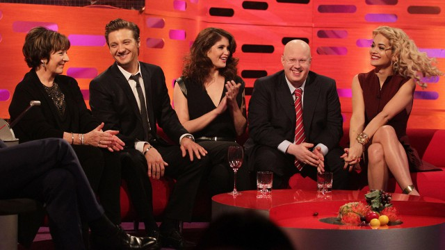Jeremy Renner, Gemma Arterton, Delia Smith, Matt Lucas, and Rita Ora pack the couch this week.