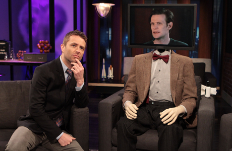 Chris Hardwick and the Matt Smith robot on the season premiere of 'The Nerdist' (Photo: BBC AMERICA)