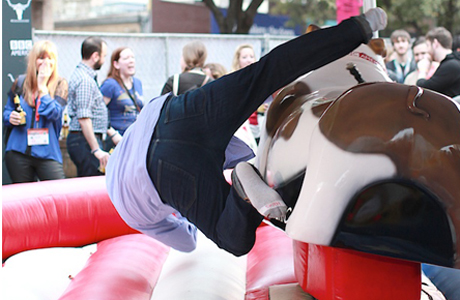 Lord Humphrey, the mechanical English bulldog,  bucked off an unsuspecting rider.