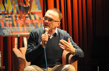 Danny Boyle speaking at the 92YTribeca in New York. (Paolo Mastrangelo)