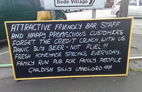 Hand written pub sign
