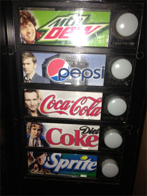 TARDIS vending machine buttons