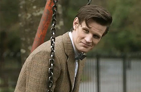 The Doctor on a swing.