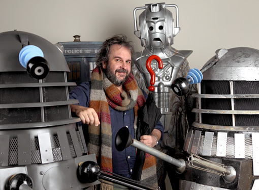 Peter Jackson with his Doctor Who collection, 2013 (via EW.com)