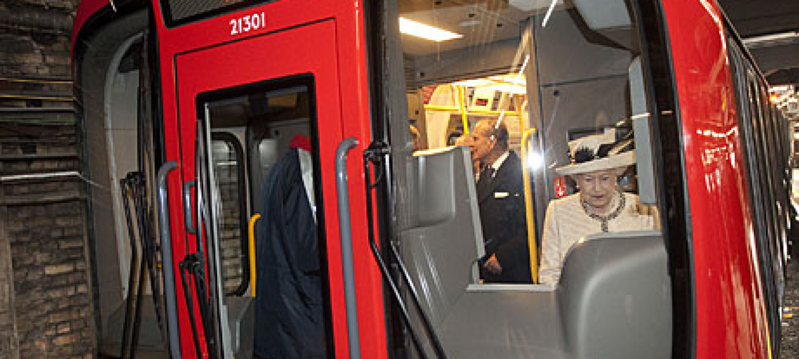 The Queen drives a tube train