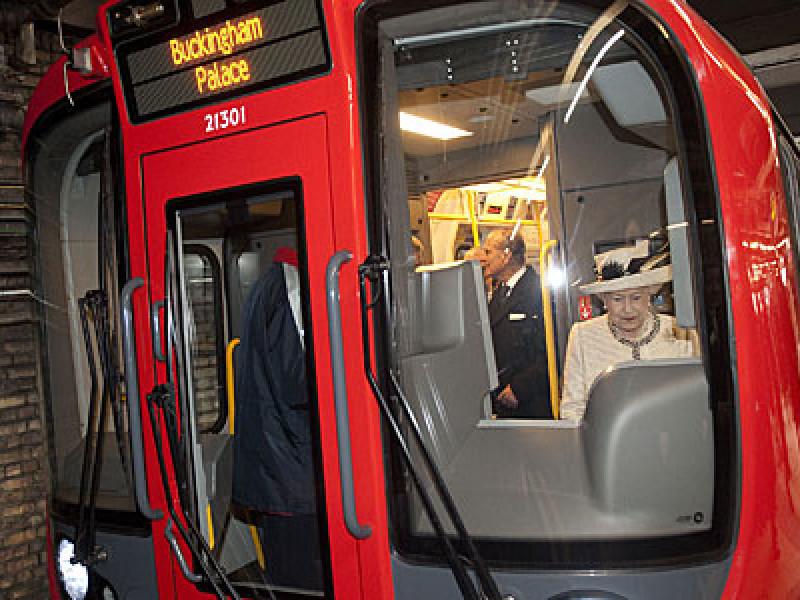 The Queen drives a tube train