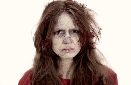 Karen Gillan's zombie makeover for 'The Nerdist' (Photo: BBC AMERICA)