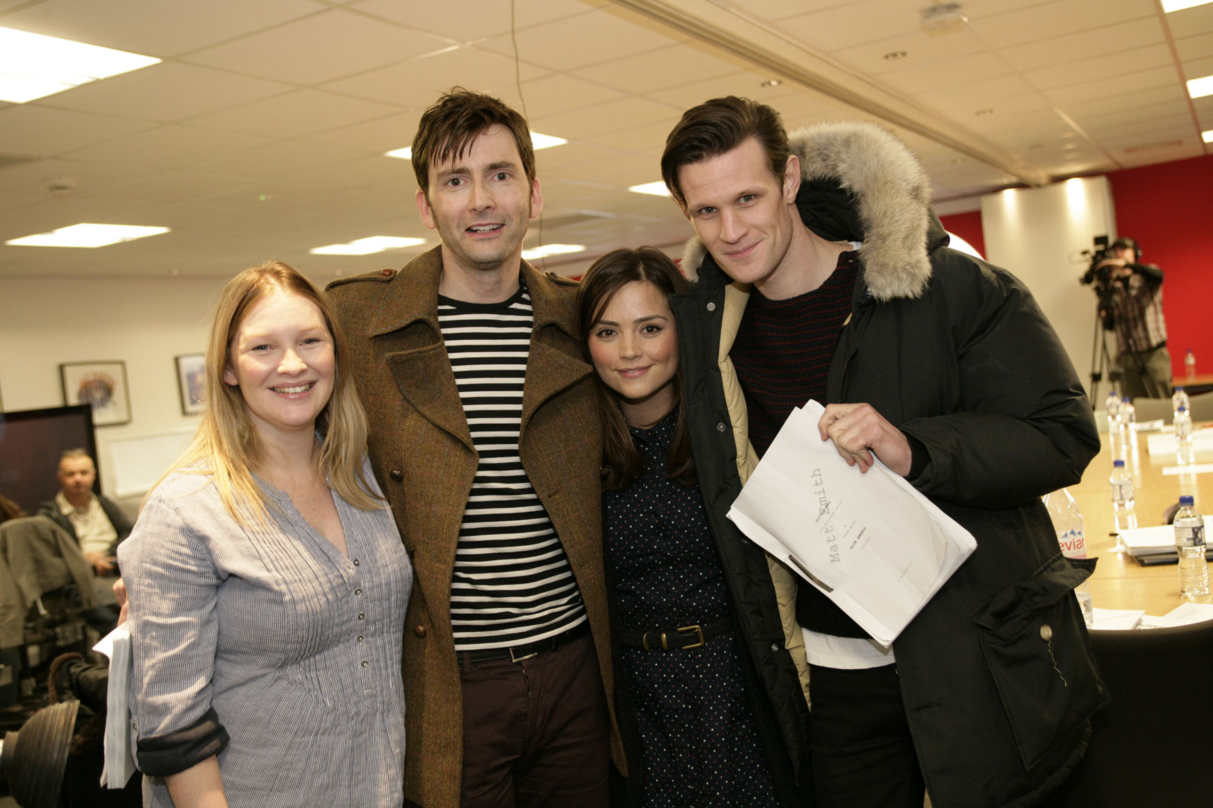 Joanna Page, David Tennant, Jenna-Louise Coleman, and Matt Smith at the read-through for the 'Doctor Who' 50th anniversary special. (Photo: BBC)