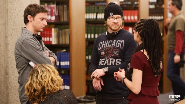 Director John Fawcett chats with Tatiana Maslany and Evelyne Brochu between takes.