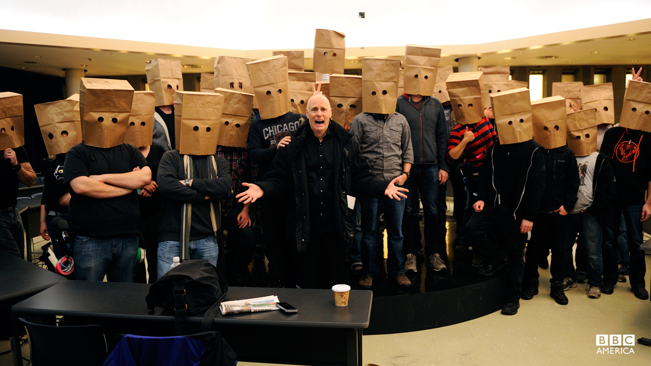 The brown-bag sad-face gang. Get the story behind the brown bag gag HERE.