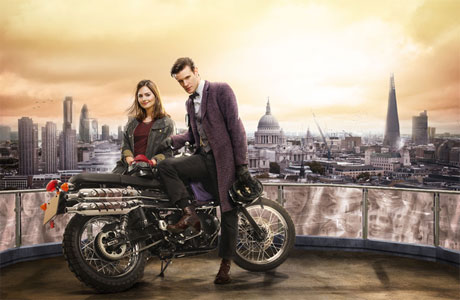 The Doctor and Clara (and the anti-grav bike) take in the London skyline.