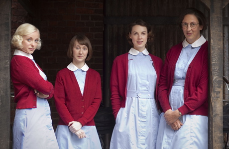 Some 'Call the Midwife' cast members, left to right: Helen George as Trixie, Bryony Hannah as Cynthia, Jessica Raine as Jenny and Miranda Hart as Chummy. (Laurence Cendrowicz/© Neal Street Productions)