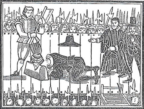 Tyrant, Traitor, Murderer, and Public Enemy. A contemporary woodcut showing the 1649 beheading of Charles I. The Warder Collection.