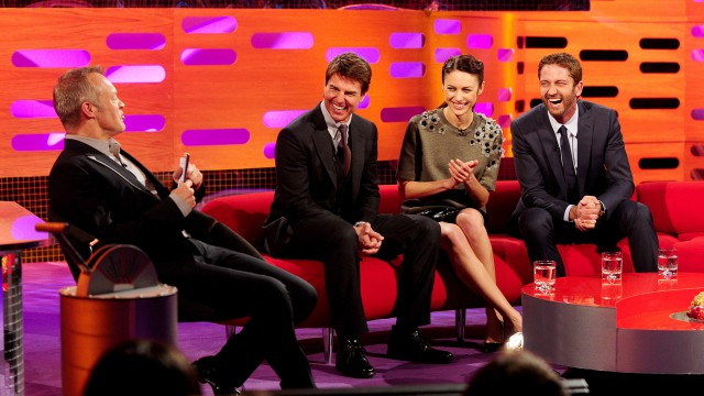 Tom Cruise, Olga Kurylenko, and Gerald Butler share a laugh on 'The Graham Norton Show.'