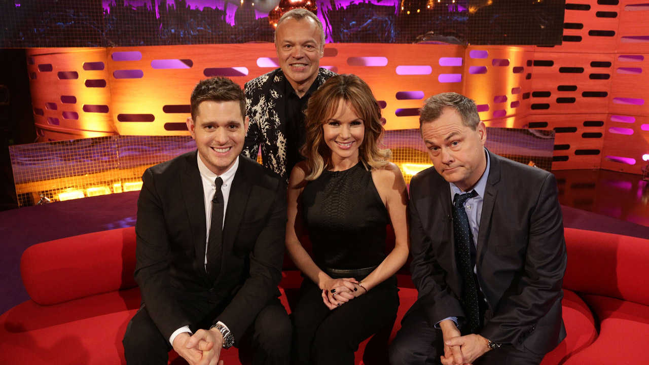 Michael Bublé, Amanda Holden, and Jack Dee pose for a photo.