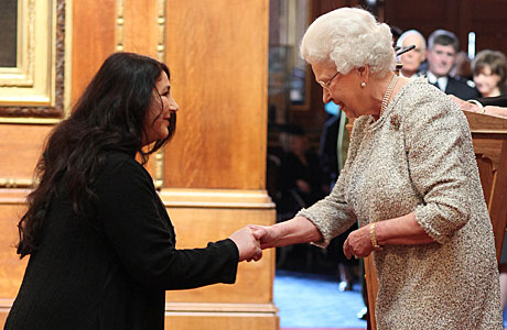 Kate Bush and the Queen, yesterday (AP Images)