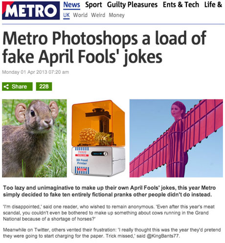 Metro april fool's gag
