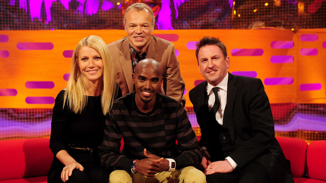 Gwyneth Paltrow, Mo Farrah, and Lee Mack pose for a picture.