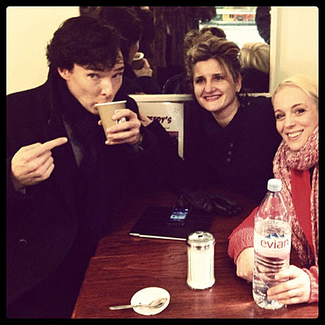 Benedict Cumberbatch and Amanda Abbingon (right) in Speedy's Cafe.