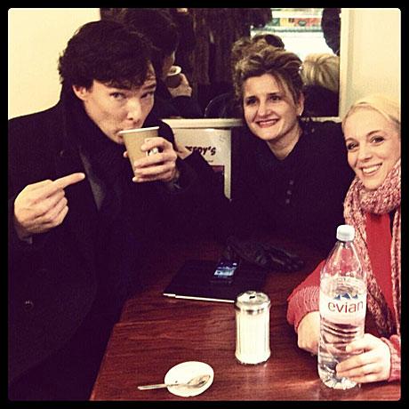 Benedict Cumberbatch and Amanda Abbingon (right) in Speedy's Cafe.