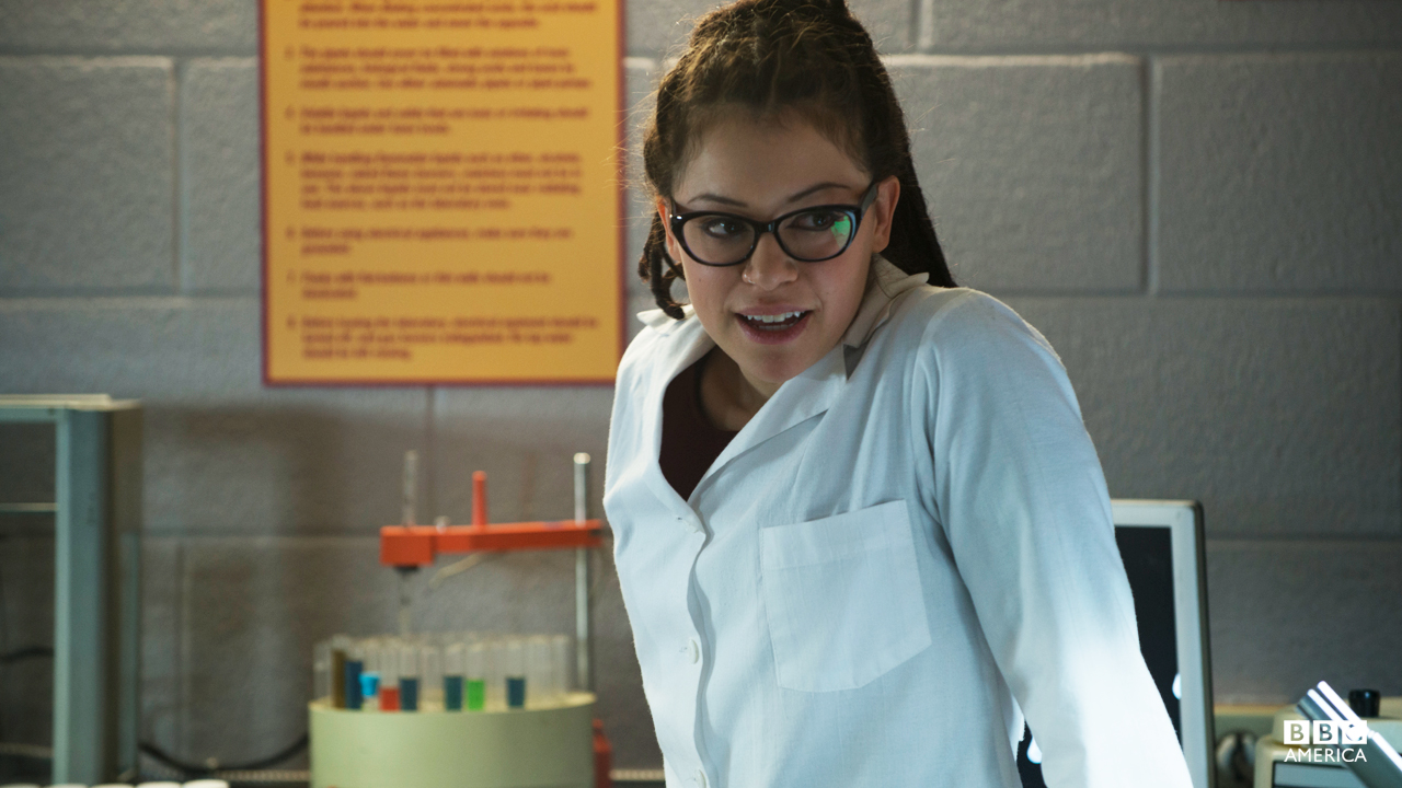 Cosima dorking out in the lab.