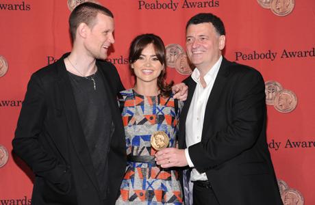 Matt Smith, Jenna Coleman and Steven Moffat at the Peabodys. (Photo: Evan Agostini/Invision/AP)
