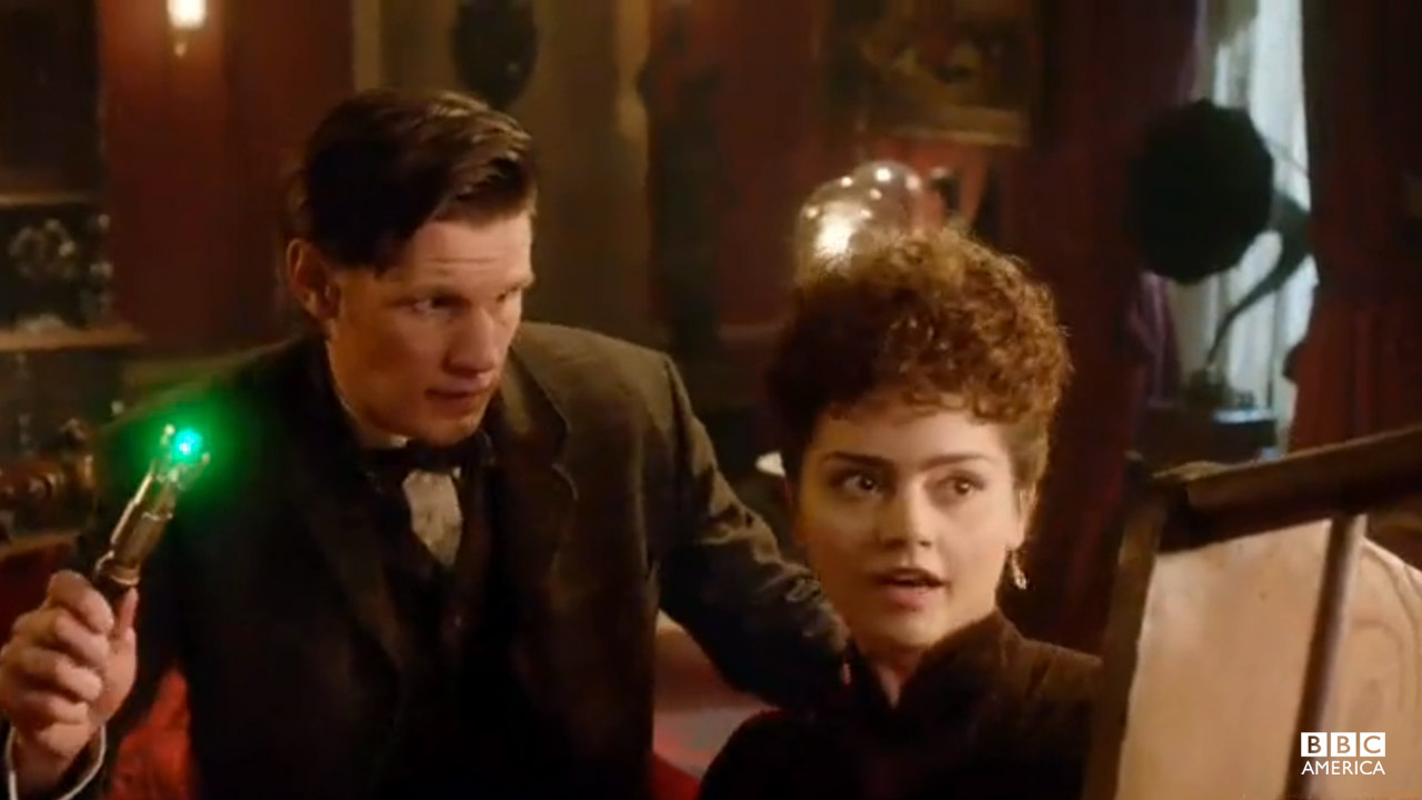 "The Doctor: ""Hang on, hang on. I've got a sonic screwdriver."" Clara: ""Yeah? I've got a chair!"""