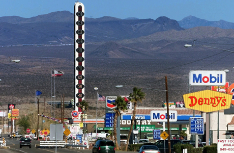 In Baker, the World's Largest Thermometer en route to Las Vegas from LA. (AP Photo/Mark J. Terrill,File)