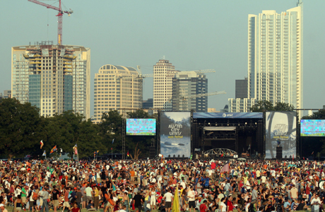 A view of Austin from the Austin City Limits Festival. (AP Photo/Jack Plunkett)