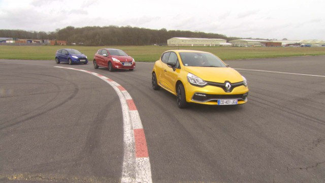 Renault Clio RS, Peugeot 208 GTI and Ford Fiesta ST driving on the Top Gear Test Track