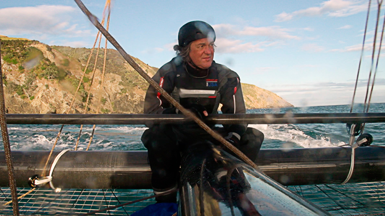 James May on the Oracle yacht in New Zealand