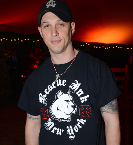 Tom Hardy rocks a rescue tee at the Gabrielle's Gala in London. (AP)