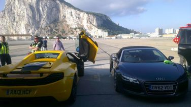 Top Gear crew, with the Rock in the background. (Shane Macdonald/Gibraltar Broadcasting Company)