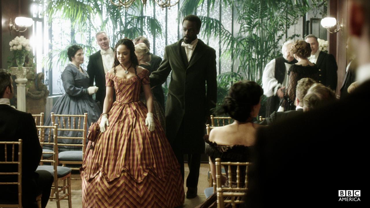 Sara and Matthew arrive at the wedding.