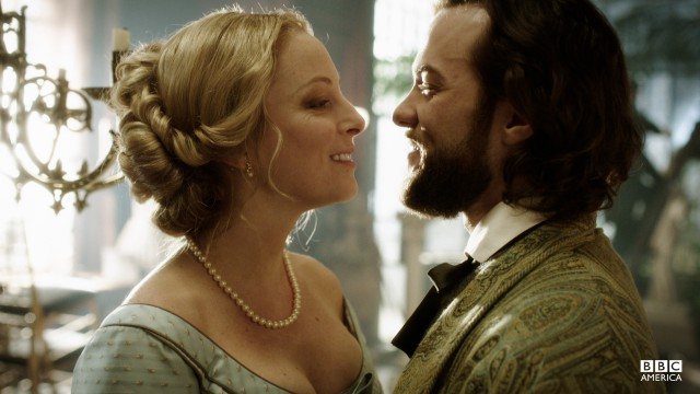 Robert and Elizabeth share a laugh on the morning of their wedding.