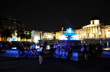 Royal baby born. Trafalgar Square's fountains are coloured blue to mark the birth of a baby boy, at 4.24pm to the Duke and Duchess of Cambridge at St Mary's Hospital. Picture date: Monday July 22, 2013. See PA story ROYAL Baby. Photo credit should read: Clive Gee/PA Wire URN:17126909 (Press Association via AP Images)