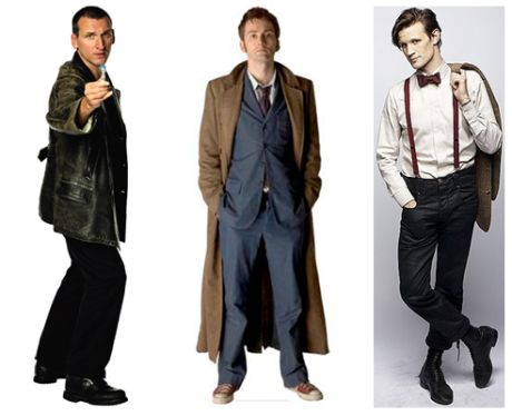 The ninth, tenth, and eleventh Doctors. From left to right: Christopher Eccleston, David Tennant, and Matt Smith.