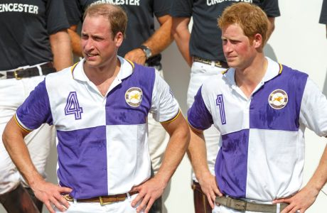 The Duke of Cambridge and Prince Harry after competing in The Jerudong Trophy at Cirencester Park Polo Club in Cirencester, Gloucestershire. (Photo via AP)