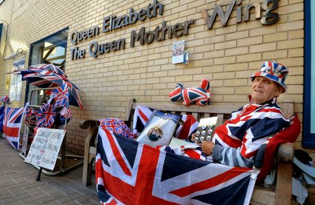 One of the Royal families biggest fans Terry Hutt, 79, from Cambridge, prepares to start the tenth day of his wait outside St Mary's Hospital in Paddington west London, for the birth of the Duchess of Cambridge's baby. (Press Association via AP Images)