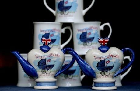 Prince George teapot. Commemorative teapots and mugs created to celebrate the birth of Prince George of Cambridge by Tony Carter Ceramic Designs in Debenham in Suffolk. Picture date: Monday July 29, 2013. Photo credit should read: Chris Radburn/PA Wire URN:17181822 (Press Association via AP Images)