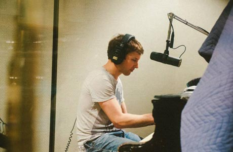 "James Blunt in the studio making music ... before the ""infamous"" email. (FB)"